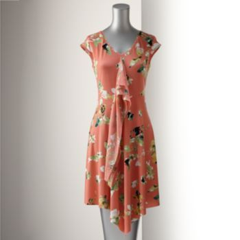 Simply Vera Vera Wang Floral Crepe Shift Dress-I like the material but the ruffle in front has to go