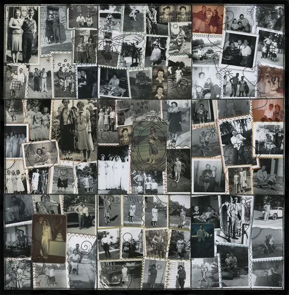 Jane Waggoner Deschner from the crazy quilt series (Betty), 2012 hand-embroidered found photographs 27 x 27 inches: