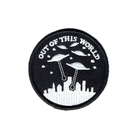 "We come in peace.  2.5"" iron on patch with merrowed edge."
