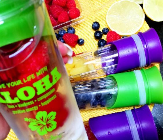 Kiana's Aloha Infusion Bottles! Naturally flavored water loaded with anti oxidants, vitamins and minerals. Fill the cartridge with your favorite fruit or veggies and freeze! Pop into the bottle and enjoy! Click for info. Shop.Kiana.com
