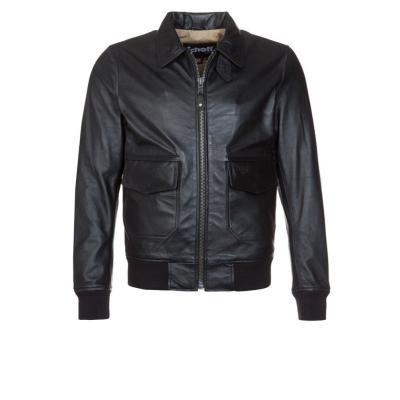 €339, Schwarze Leder Bomberjacke von Schott NYC. Online-Shop: Zalando. Klicken Sie hier für mehr Informationen: https://lookastic.com/men/shop_items/231540/redirect