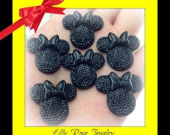 6 Black Glitter strass Minnie Mouse inspiré Bow tête plate retour résine Cabochon pour Scrapbook cheveux boucles bijoux faisant 25x28mm ou 1 pouce
