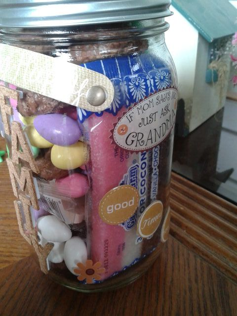 Jayvn & I made this for Grandma with her favorite candy inside!