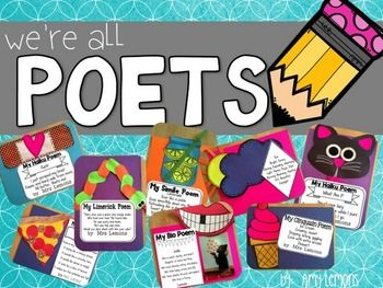 Looking for a way to introduce different types of poems AND you want a fun way to display them?!  This unit merges the art of writing poetry with creating fun crafts!  You can choose any type of poetry to go with any of the eight crafts included!  Mix and match all you want!