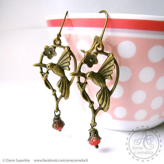 Boucles d'oreille art nouveau oiseau à perle en cristal rouge