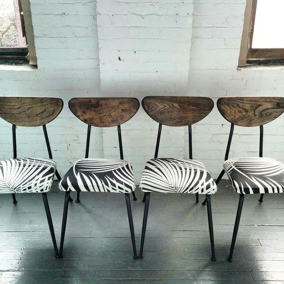Tropical Vintage chairs / chaise vintage rehaussé / bois / metal / tissus. création mixxy design