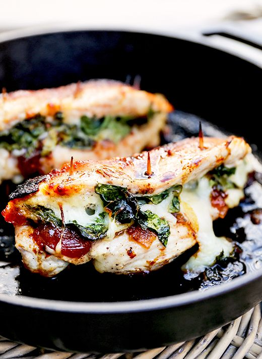 Apple Cranberry Chutney, Spinach and Mozzarella Stuffed Chicken Breasts
