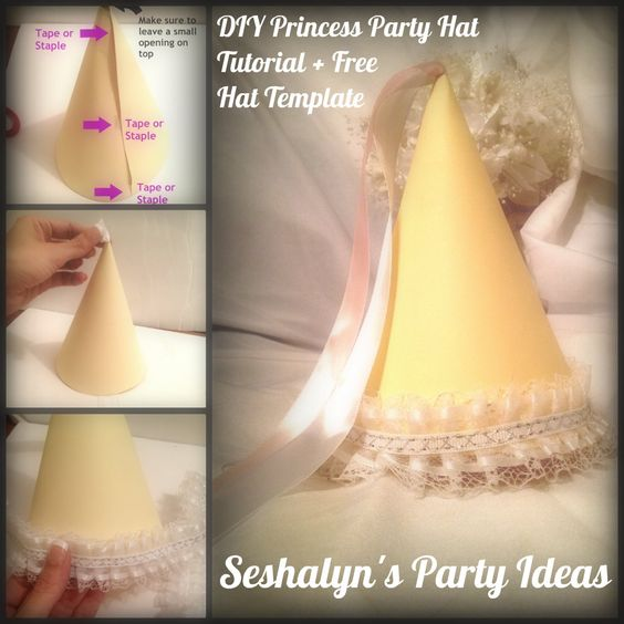 DIY Princess Party Hat Tutorial + Free Party Hat Template You - Party Hat Template