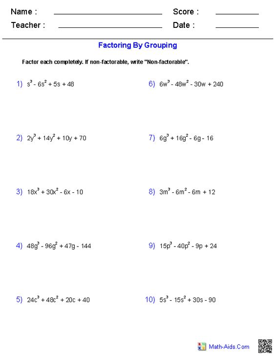 Factoring by Grouping Polynomials Worksheets | Math-Aids.Com ...