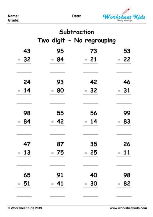 Difference 2 Integer No Regrouping Subtraction Worksheets Math Subtraction 3rd Grade Math Worksheets