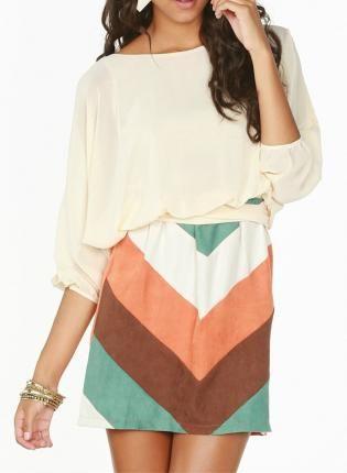 Fall Pastel Chevron Dress
