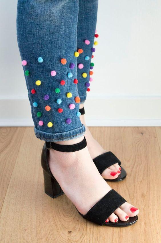 DIY Pom Pom Jeans