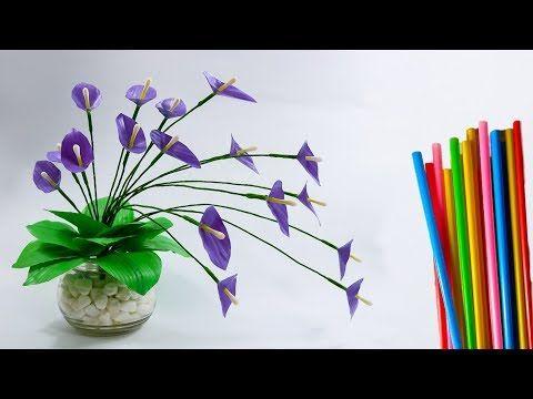 Bunga Sedotan Plastik Lily Hias Untuk Meja Straws Flower Ideas