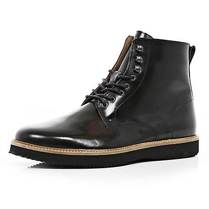 Black patent wedge sole ankle boots - boots - shoes / boots - men
