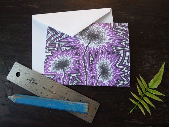 Purple explosive flower note card, original pen and ink, blank card by BlackFoxMT on Etsy
