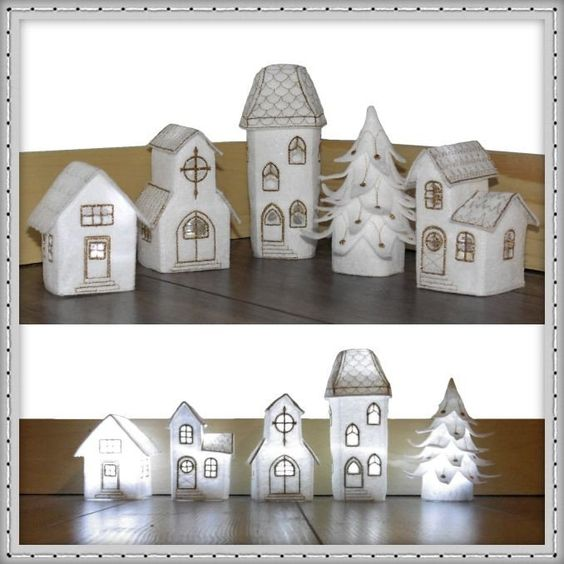 This festive Christmas village set creates beautiful holiday décor – light up the houses with LED tea lights and use...