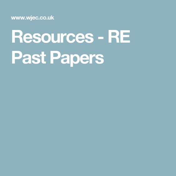 Resources - RE Past Papers