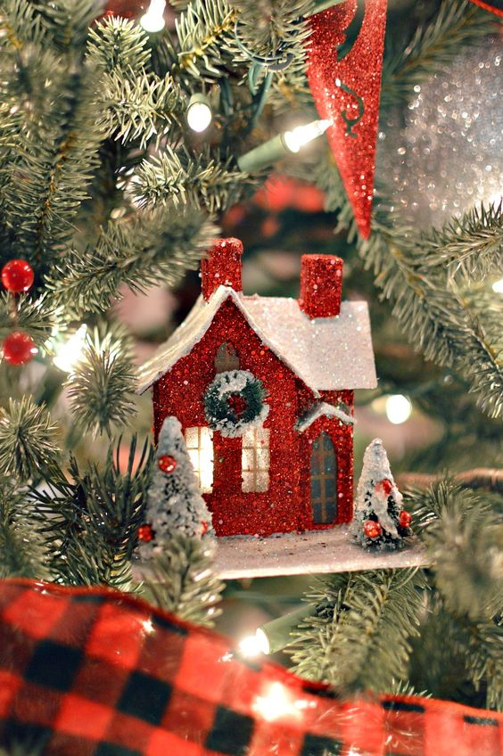 Red Vintage Style Glitter Putz House Christmas Ornament