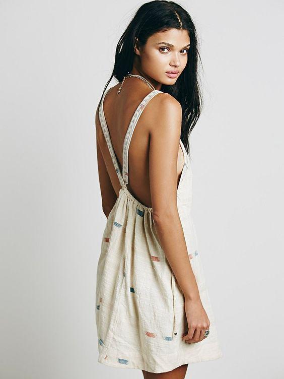 Free People Arizona Mini Embroidered Dress M Tea Combo