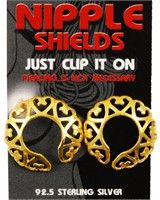 Click Image Above To Purchase: Gold Plated Sterling Silver Nipple Shields (love Hearts) (pair)