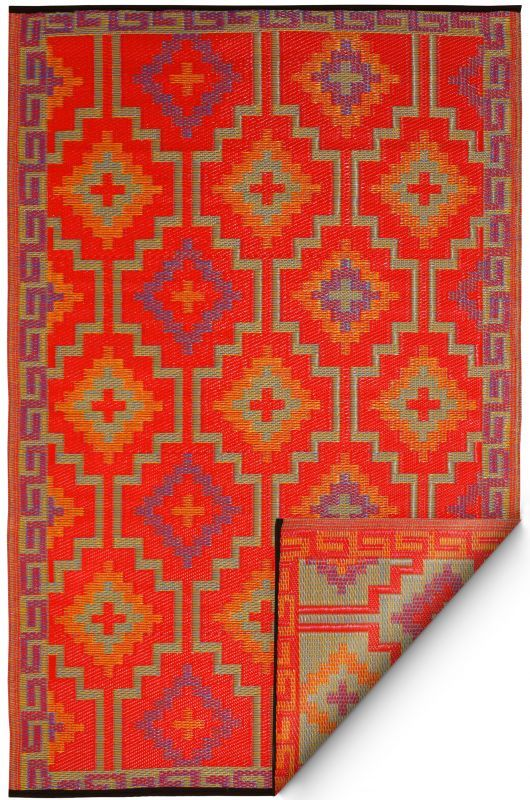 Lhasa Orange Violet Plastic Rug Outdoor Rugs Rugs