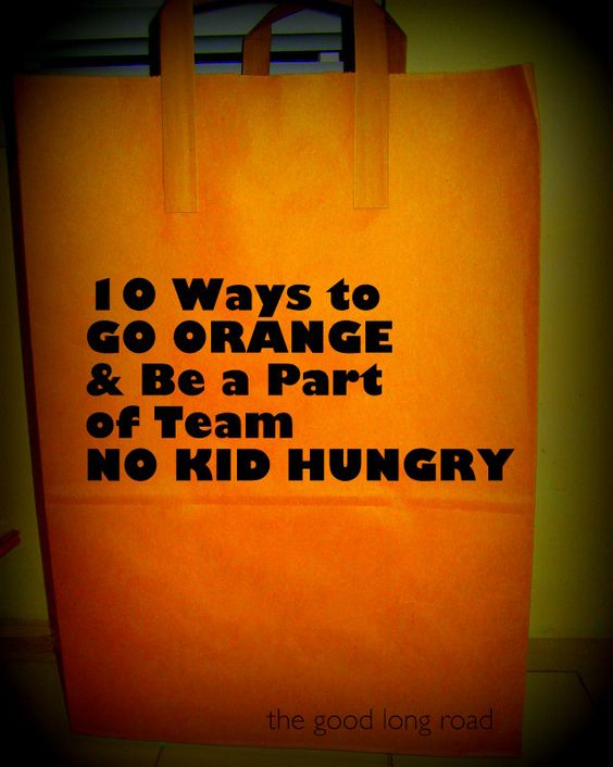 1 in 5 (that's 16 million) children in the U.S. struggle with hunger. September is National Hunger Month - Find ideas for getting involved and making a difference. #kbn #nokidhungry #goorange #dosomething