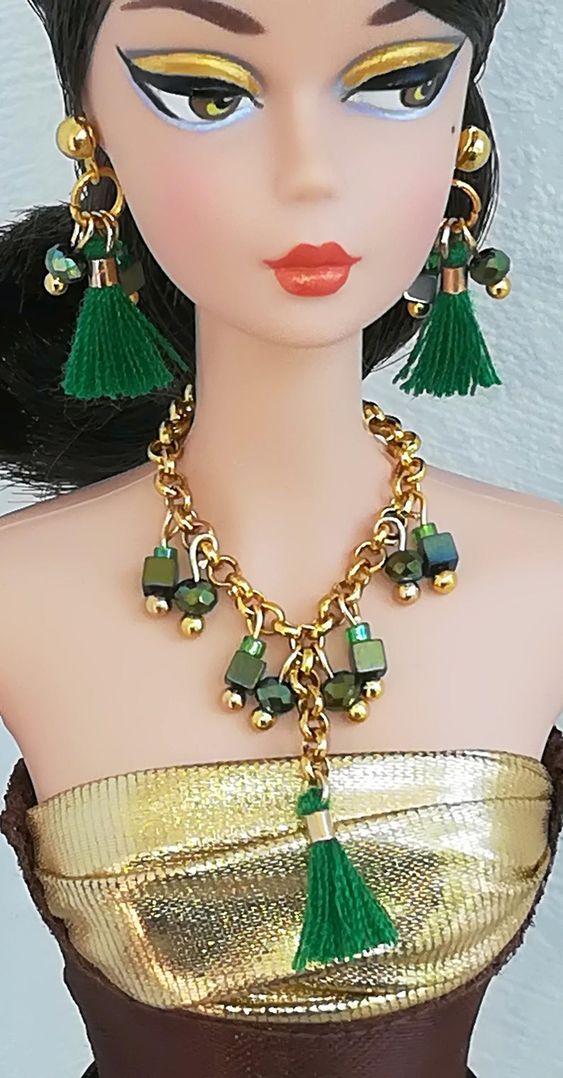 Fringed set necklace Earrings Doll Jewelry Barbie Jewelry | Etsy