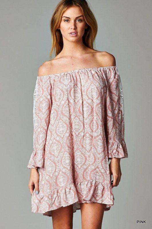 Pink Baroque Print Tunic Dress  ali &amp co boutique  Pinterest ...