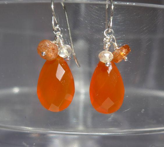 Orange Chalcedony Earrings, Chalcedony Earrings, African Sunstone Earrings, Dangling Earrings by ThreeMagicGenies on Etsy