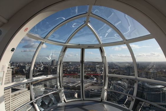 Inside the London Eye.