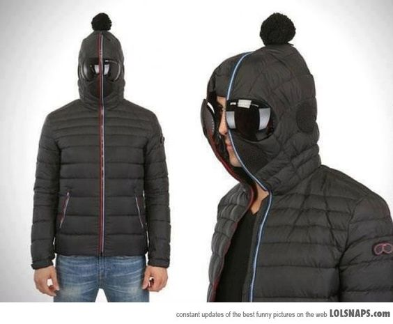 Great concept...minus the stupid pompon. Down jacket with zipping ...