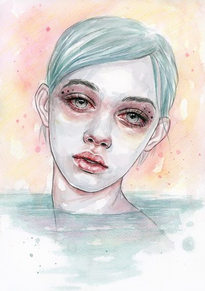 """Aqua"" - Tomasz Mrozkiewicz | arte, ilustraciones femeninas tristes, art illustration | iconoCero"