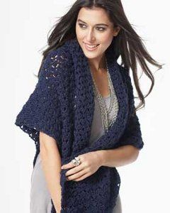 This Sapphire Satin Sparkle Shawl is the perfect thing to #crochet for fall. Not only is it a beautiful crochet shawl pattern, but it's an easy one too. The cluster stitch is worked in rows making this a great design to make.