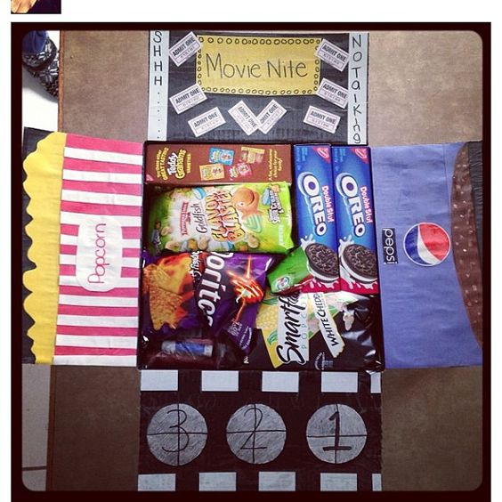 movie night care package... he can use it when we have a Skype movie night! :D