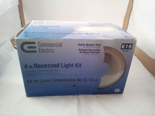 Commercial Electric 4 Inch Recessed Light Kit Satin Nickel Trim K19 Recessed Lighting Kits 4 Inch Recessed Lighting Recessed Lighting