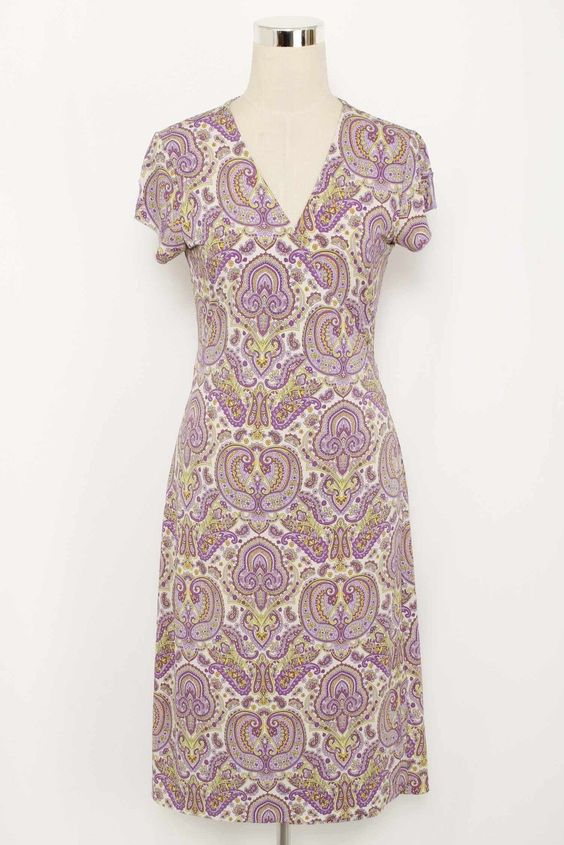 Banana Republic Lavender & White Paisley Cap Sleeve Wrap Dress Size M 2442 L1215