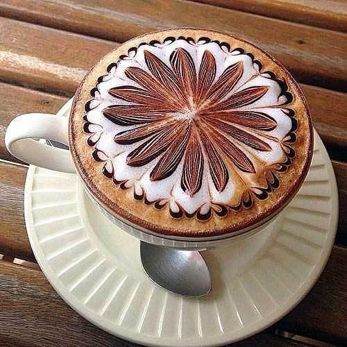 A classically elegant latte presentation.  From our stunning collection of unique, fun, and beautiful latte art for the coffee lover. #LatteArt #Coffee #CoffeeTime #Espresso #Cappuccino #CoffeeArt #CoffeeLover #CoffeeHolic