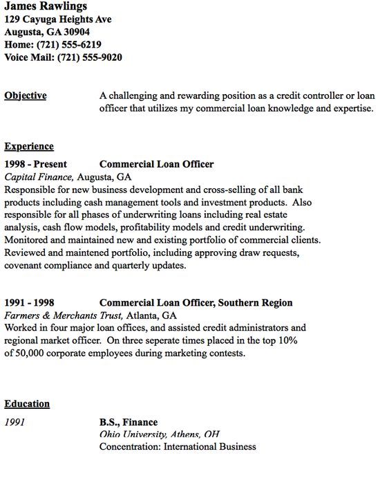 Commercial Loan Officer Resume Sample - http\/\/resumesdesign - optimal resume sanford brown