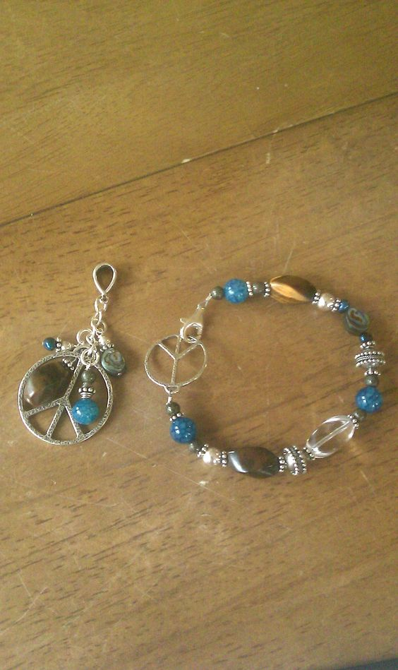 Peace! Bracelet and matching pendant