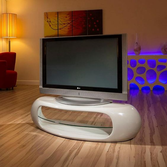 Ultra Modern Curved TV Stand Cabinet Unit Large 14 Metre Grey   Tv Grau  Beige