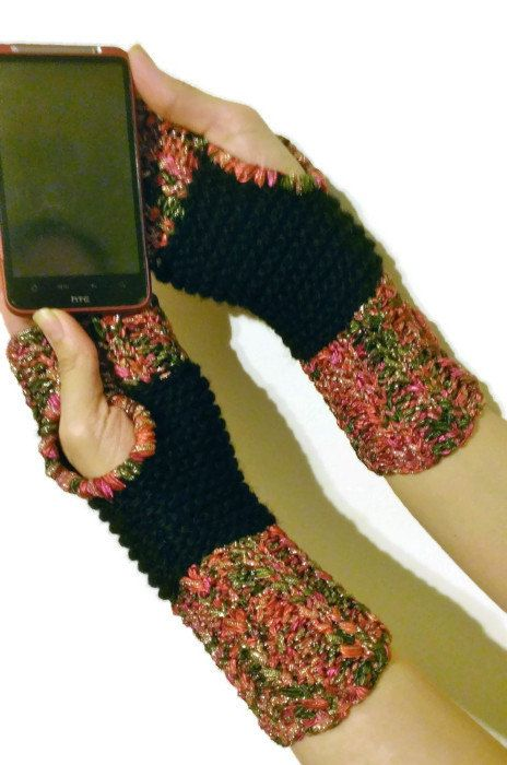 Pink Green Black and Gold Sari Fingerless Wrist Warmers by NadiasKnits, $25.00