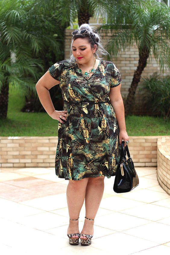 vestido plus size estampado fashion ju romano