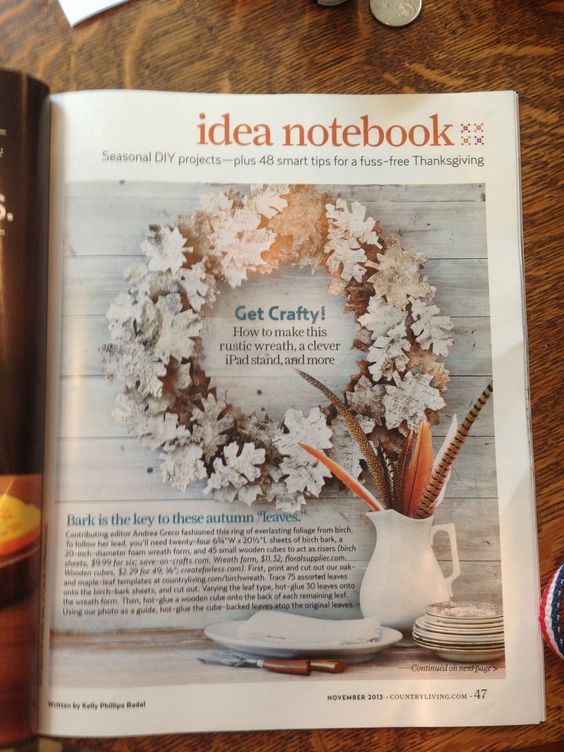 Fall Wreath made from tree bark. Country Living Nov 2013 issue.