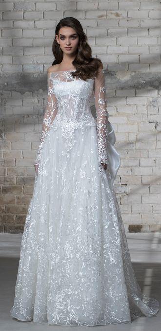 Off-the-shoulder illusion lace A-line wedding dress