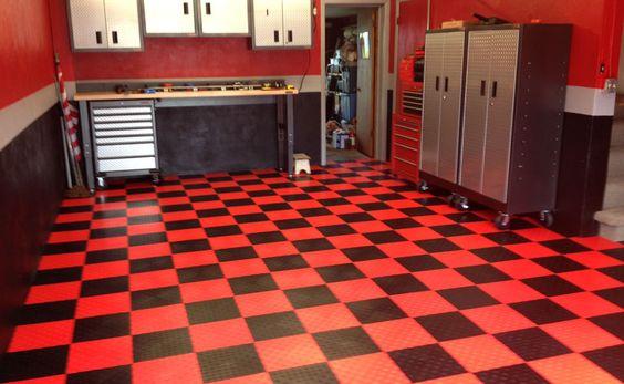 Diamond grid loc tiles diamonds the o 39 jays and garage for Man cave garage floor ideas