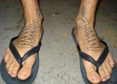 foot shoe lace tattoo