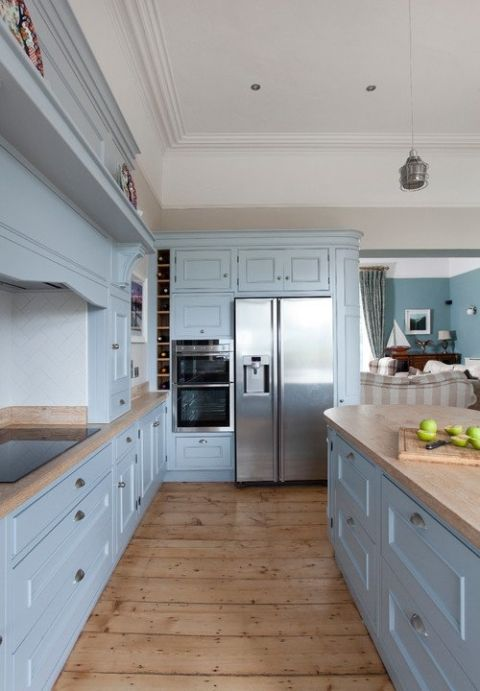 Pin By Boho Child On 16 Fenaughty St Light Blue Kitchens Wood Floor Kitchen Kitchen Cabinets Light Wood