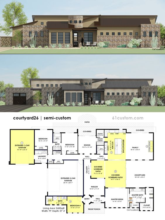 Contemporary Side Courtyard House Plan House Plans Home
