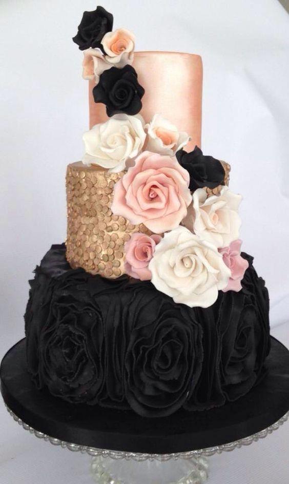 Black gold blush wedding cake:
