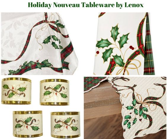 Holiday Nouveau Gold Table Linens by Lenox
